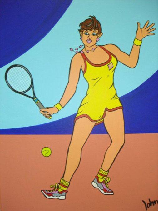 Schilderij 'Tennis meisje' - John van Draanen
