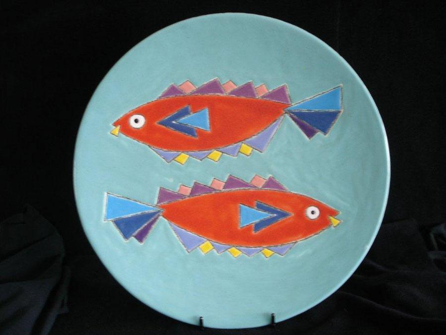 Keramische schaal 'Vissen' - John van Draanen