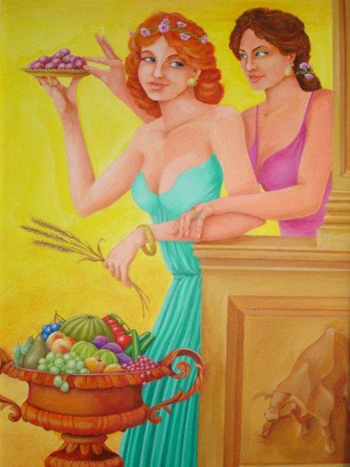 Schilderij 'Demeter en Persephone&' - John van Draanen title=