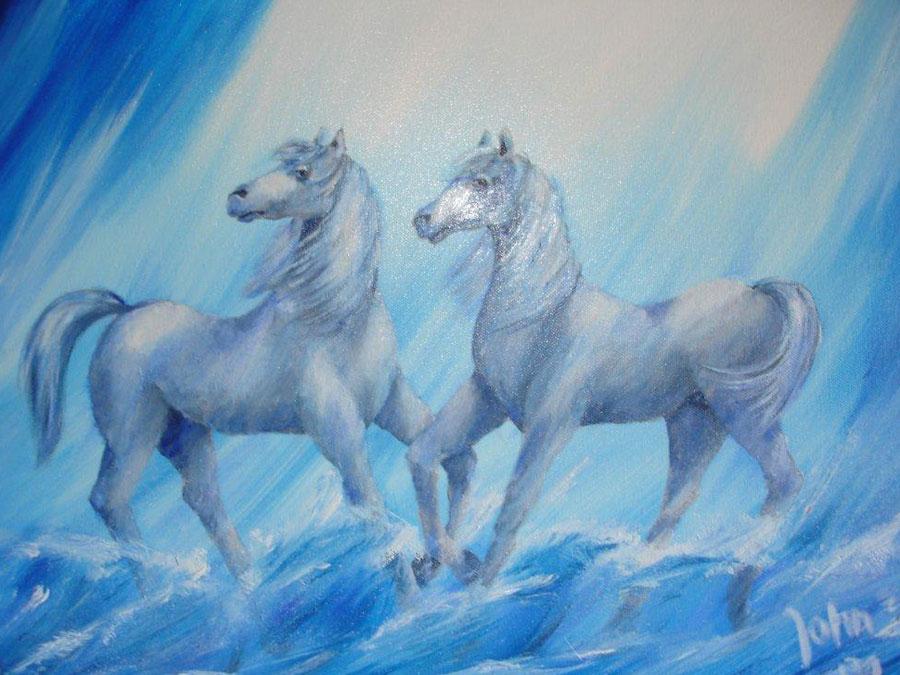 Schilderij 'Zeepaarden' - John van Draanen