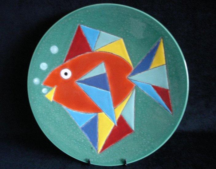 Keramische schaal 'Blue flower' - John van Draanen